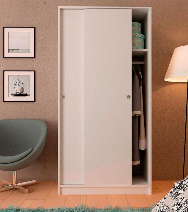 K 9457 armario de puertas correderas para montar con barra y maletero - Armario blanco puertas correderas ...