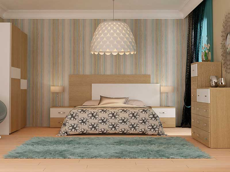 Dormitorio de matrimonio en kit modelo natura for Dormitorios matrimonio color roble
