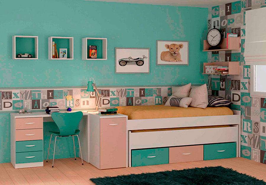 Dormitorio juvenil en colores modelo popping en kit for Conjunto dormitorio juvenil