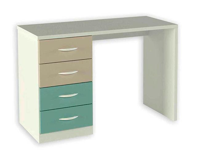 Mesa escritorio con cuatro cajones de colores for Mesa escritorio con cajones