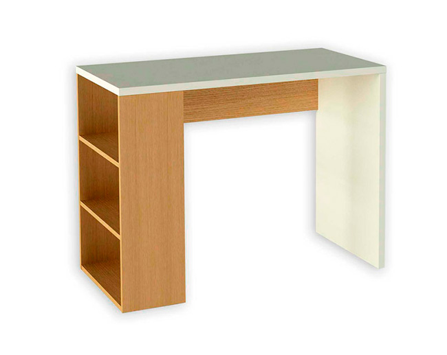 Mesa de estudio colo blanco y roble con estante for Mueble zapatero multiestante