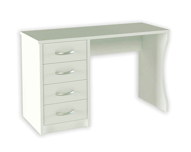 Mesa escritorio color blanca con cajones for Mueble zapatero multiestante
