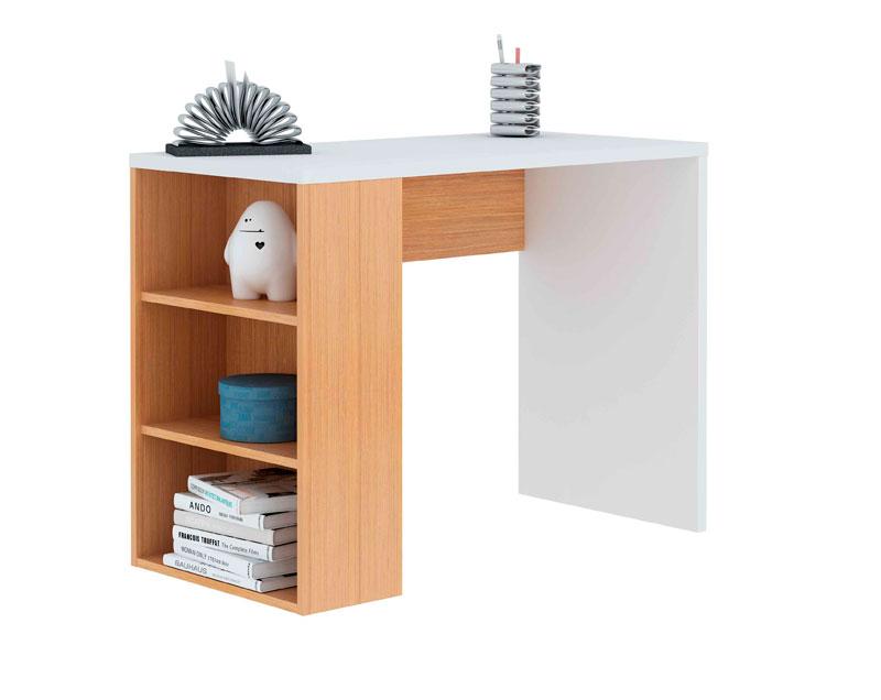 Mesa de estudio colo blanco y roble con estante for Mueble zapatero multiestante