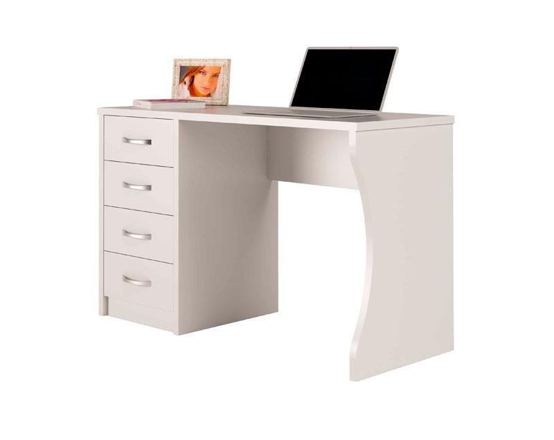 Mesa escritorio color blanca con cajones for Mesa estudio con cajones