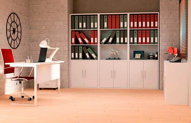 Muebles de oficina conjunto de oficina blanco liso for Conjunto muebles oficina