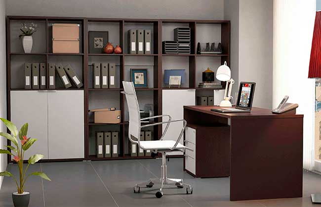 Conjunto de muebles de oficina color blanco combinado con for Muebles de oficina wengue