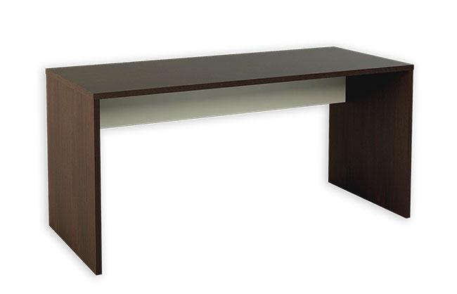 Conjunto de muebles de oficina color blanco combinado con wengue