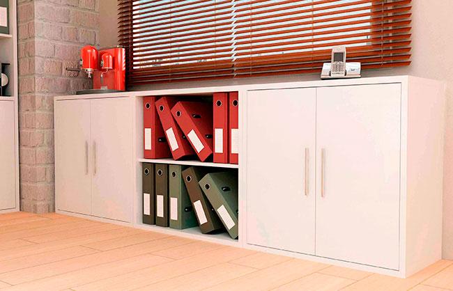 Muebles de oficina conjunto de oficina blanco liso for Muebles oficina blancos