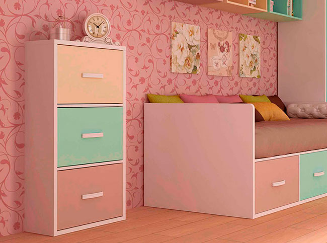 zapatero infantil color pastel con tres compartimentos