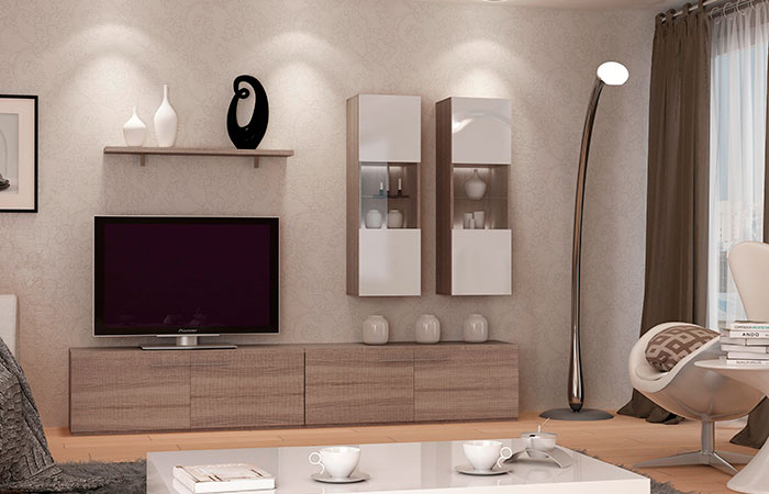 Mueble de sal n color blanco y roble modelo tango for Modulos salon blanco